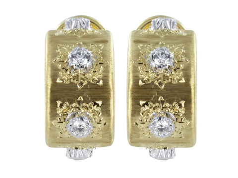 Buccellati Classica Two Tone Gold & Diamond Earrings - Jewelry Boston