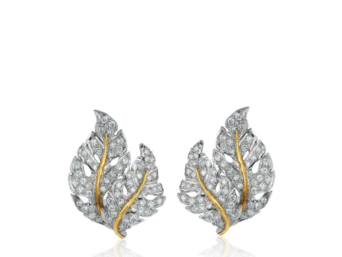 Buccellati Diamond Leaf Earrings - Jewelry Boston