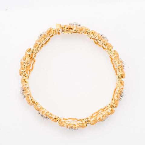 Buccellati Floral Bracelet w/Diamonds (18K Yellow Gold) - Jewelry Designers Boston