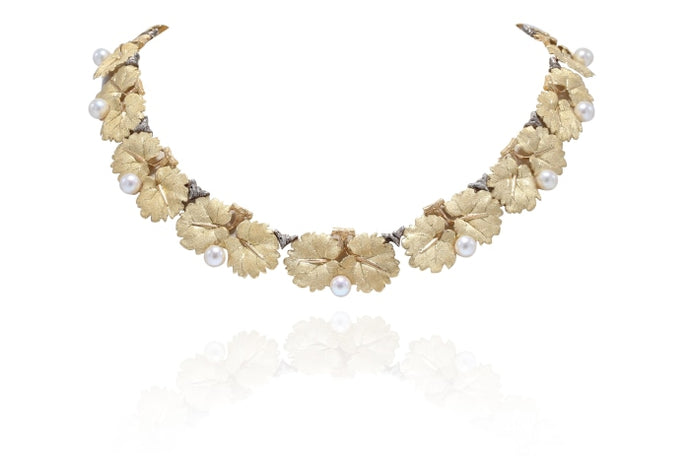 Buccellati Pearl & Leaf Necklace (18k Yellow Gold) - Jewelry Designers Boston