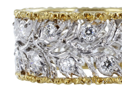 Buccellati Ramage Design Open Work Diamond Band - Jewelry Boston