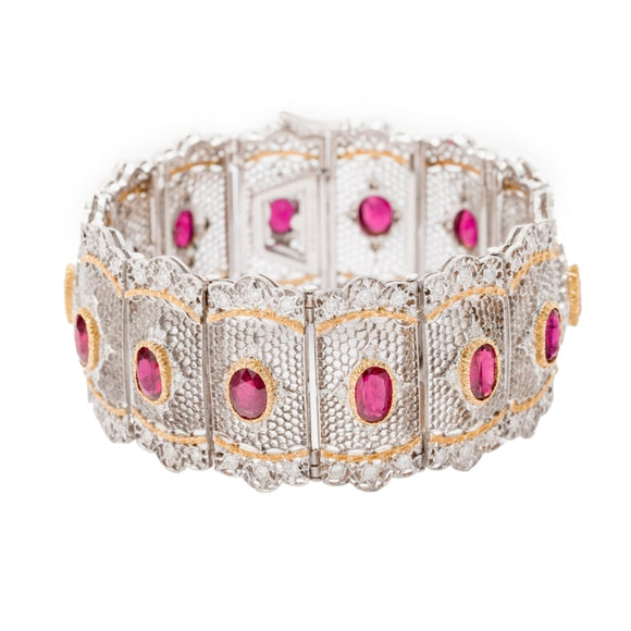 Buccellati Ruby & Diamond Bracelet (18k White & Yellow Gold) - Jewelry Designers Boston