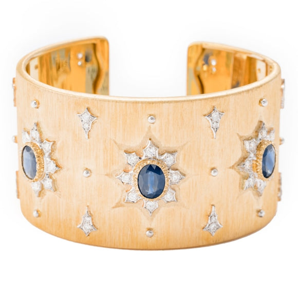 Bucellati Sapphire & Diamond Cuff (18k Yellow Gold) - JEWELRY Boston