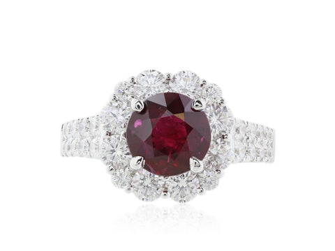 Burma Ruby 2.05 Ctand Diamond Cluster Ring. - Jewelry Boston