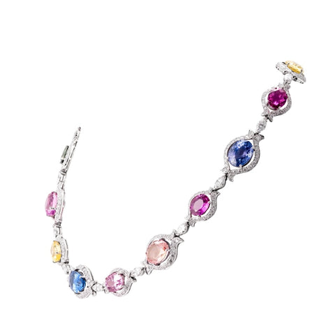 Bvlgari Multi-Oval Sapphire & Diamond Necklace (Platinum) - Jewelry Designers Boston