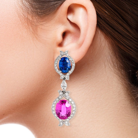 Bvlgari Oval Pink & Blue Sapphire Earrings (Platinum) - Boston