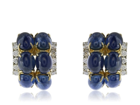 Cabachon Sapphire And Diamond Clip Earrings - Jewelry Boston