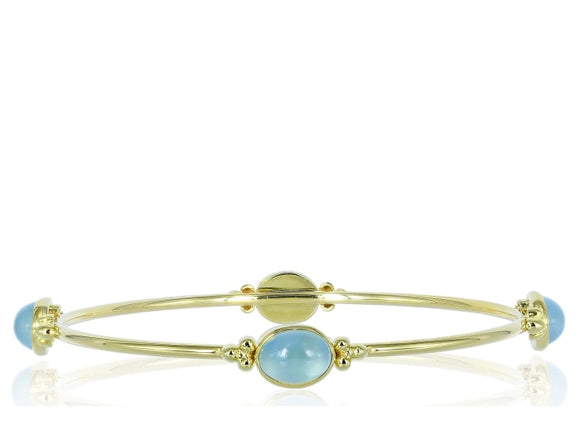Cabochon Aquamarine Bangle Bracelet - Jewelry Boston