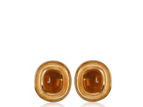 Cabochon Citrine Clip Earrings - Jewelry Boston