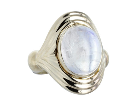 Cabochon Moonstone Ring (14K Yellow Gold) - Jewelry Boston