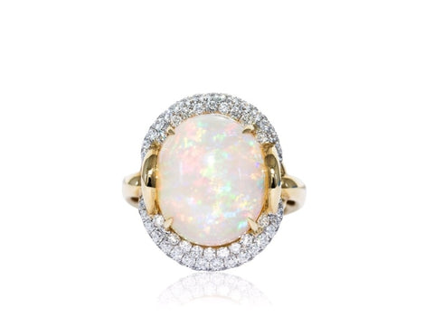 Cabochon Oval Opal Etruscan Style Ring (14K Yellow Gold) - Jewelry Boston