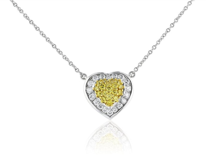 Canary Diamond Heart Shape Pendant Necklace (Platinum) - Jewelry Boston