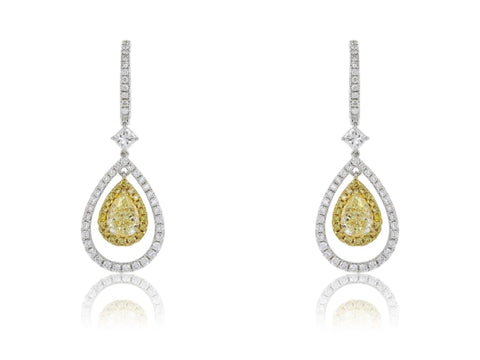 Canary Yellow & White Diamond Drop Earrings (3.73 Carats) - Jewelry Boston