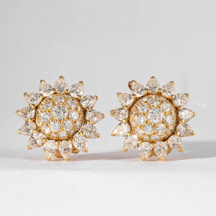 Cartier Diamond and Yellow Gold Sun Flower Motif Earrings (Vintage) - Boston