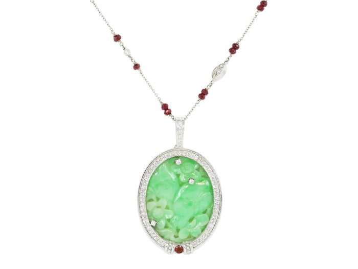 Carved Jade Pendant & by the Yard Style Chain (White Gold) - JEWELRY Boston