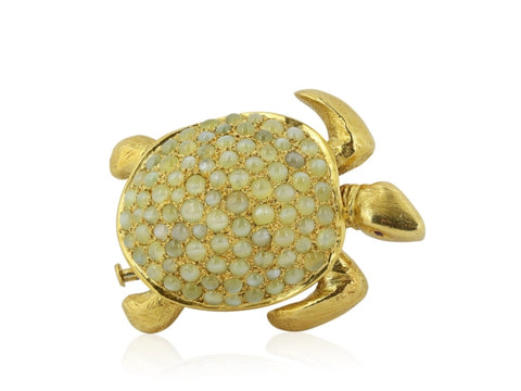 Cats Eye Turtle Pin (18 Karat Yellow Gold) - Boston