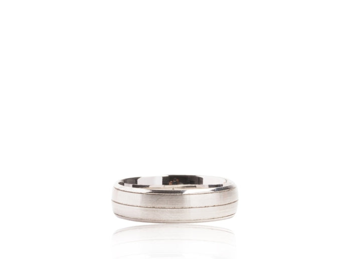 Center Striped Satin Finish Wedding Band (White Gold) - JEWELRY Boston