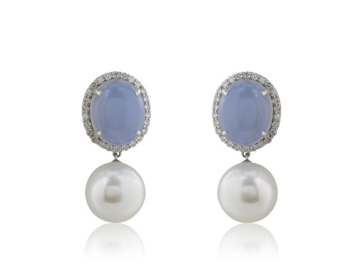 Chalcedony Pearl Earrings - Jewelry Boston