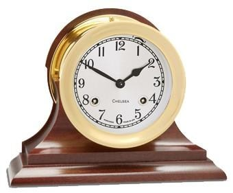 Chelsea 4 1/2 Shipstrike Clock In Brass On Traditional Base - Gifts Boston