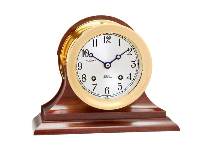 Chelsea 4.5 Ships Bell Clock W/ Traditional Base - Gifts Boston