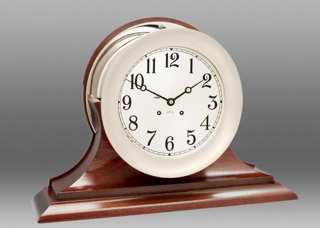 Chelsea 8.5 Ships Bell Clock In Nickel W/ Traditional Base - Gifts Boston