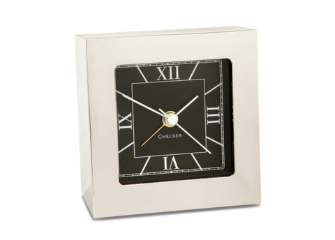 Chelsea Clock Square Desk 3 Nickel Alarm Clock - Gifts Boston