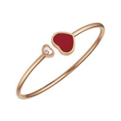 Chopard 0.05 Carat Happy Heart Red Inlay Bangle (Rose Gold) - Jewelry Designers Boston