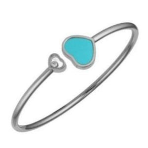 Chopard 0.05 Carat Happy Hearts Turquoise Bangle (White Gold) - Jewelry Designers Boston
