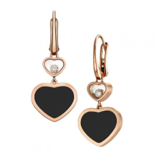Chopard 0.10 Carat Happy Diamonds w/Onyx Hearts Drop Earrings (Rose Gold) - Jewelry Designers Boston