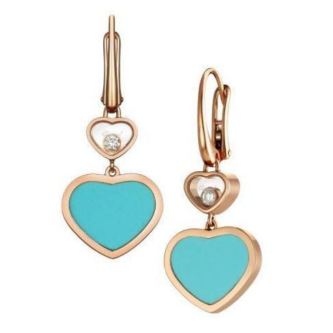 Chopard Happy Hearts RG Turquoise Drop Earrings - Boston