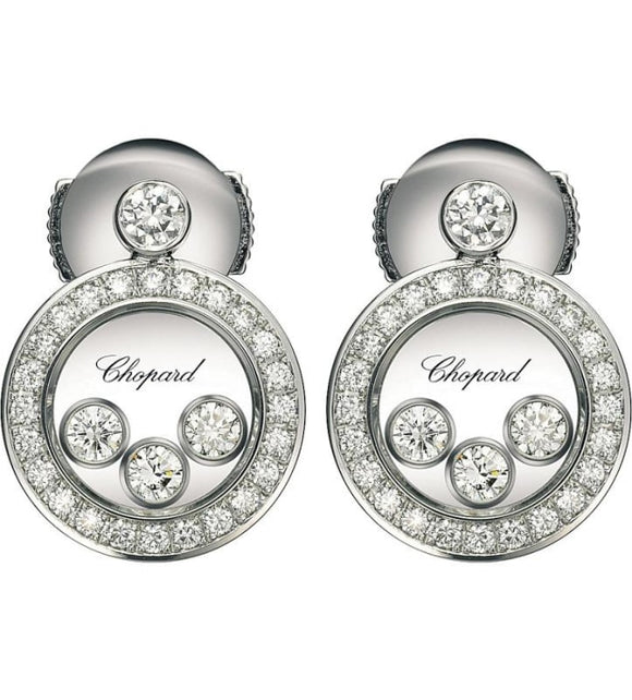 Chopard~ 0.72Ctw Happy Diamonds Icon Round Earrings - Jewelry Boston