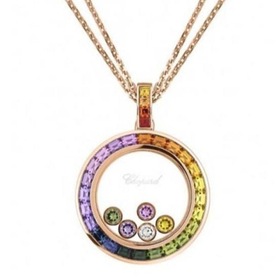 Chopard 2.66 Carat Happy Diamonds Rainbow Sapphire Pendant Necklace (Rose Gold) - Jewelry Designers Boston