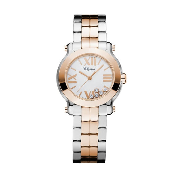Chopard~ Happy Sport Mini Stainless Steel & Rose Gold 30Mm (278509-6003) - Watches Boston