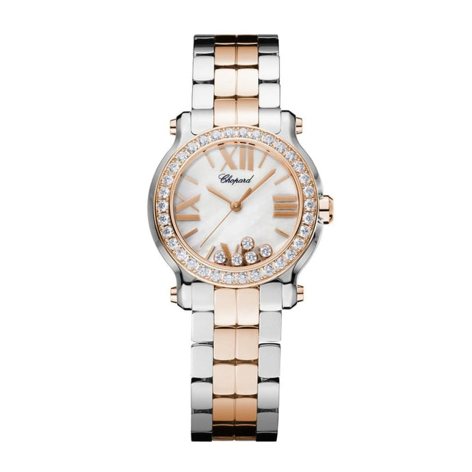 Chopard~ Happy Sport Mini Stainless Steel/rose Gold 30Mm W/ Diamond Bezel (278509-6005) - Watches Boston
