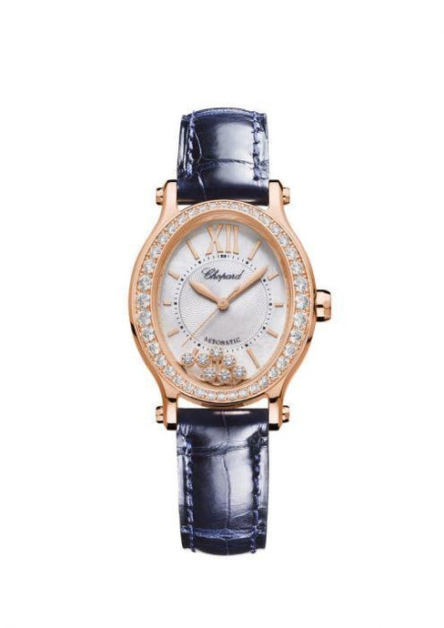 Chopard~ Happy Sport Oval Rose Gold/leather Strap 30Mm W/ Diamond Bezel (275362-5002) - Watches Boston