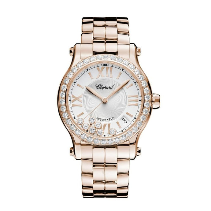 Chopard~ Happy Sport Rose Gold 36Mm W/ Diamond Bezel (274808-5004) - Watches Boston