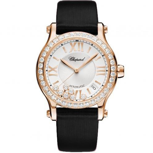 Chopard Happy Sport Rose Gold/ Strap w/ Diamond Bezel (274808-5003) - WATCHES Boston