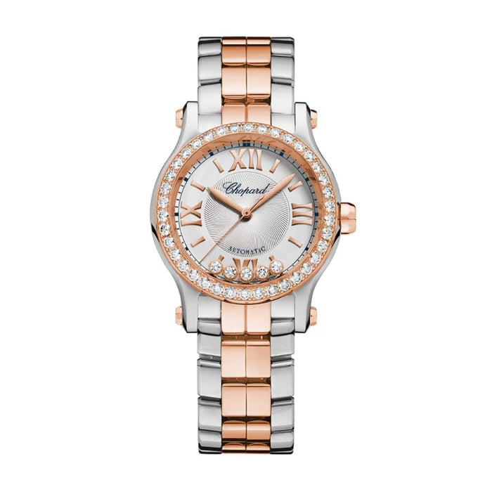 Chopard~ Happy Sport Stainless Steel/rose Gold 30Mm W/ Diamond Bezel (278573-6004) - Watches Boston