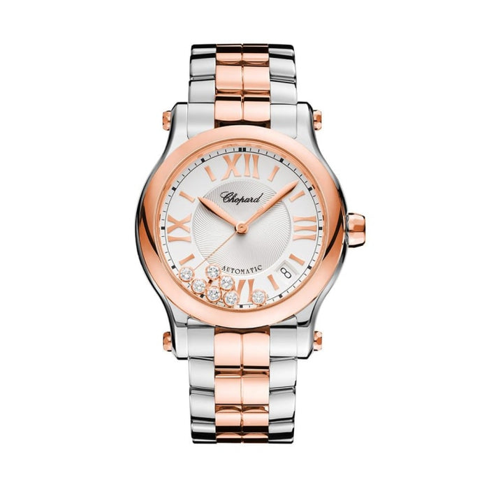Chopard~ Happy Sport Stainless Steel/rose Gold 36Mm (278559-6002) - Watches Boston