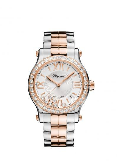 Chopard~ Happy Sport Stainless Steel/rose Gold 36Mm W/ Diamond Bezel (278559-6004) - Watches Boston