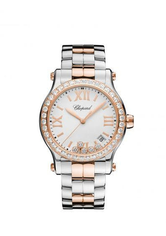 Chopard~ Happy Sport Stainless Steel/rose Gold 36Mm W/ Diamond Bezel (278582-6004) - Watches Boston