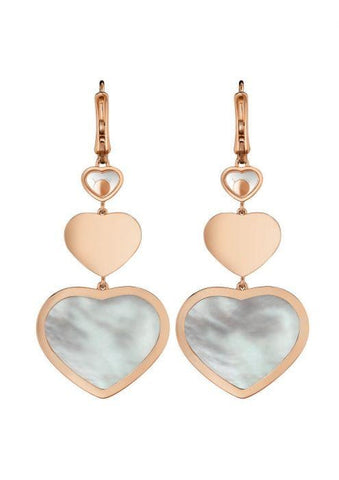 Chopard~Happy Diamonds Hearts Mother-Of-Pearl Earrings - Jewelry Boston