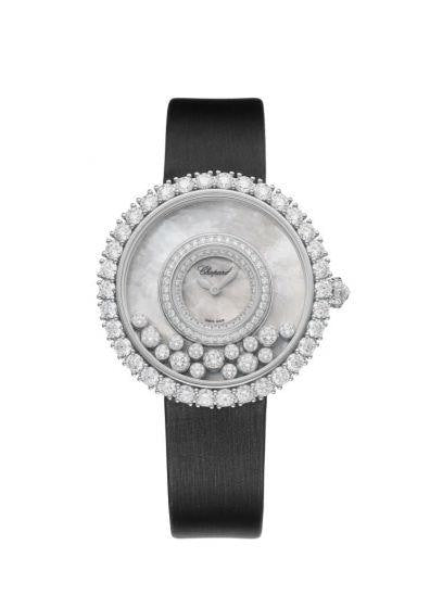 Chopard~Happy Dreams White Gold/satin Strap 36Mm W/ Diamond Bezel (204445-1001) - Watches Boston
