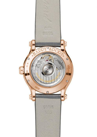 Chopard~Happy Sport Rose Gold/Strap & Diamond Bezel (274808-5014) - WATCHES Boston