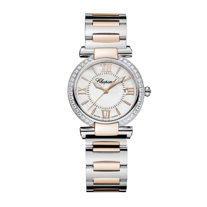 Chopard~Imperial 28mm Stainless Steel & Rose Gold w/ Diamond Bezel (388541-6004) - WATCHES Boston