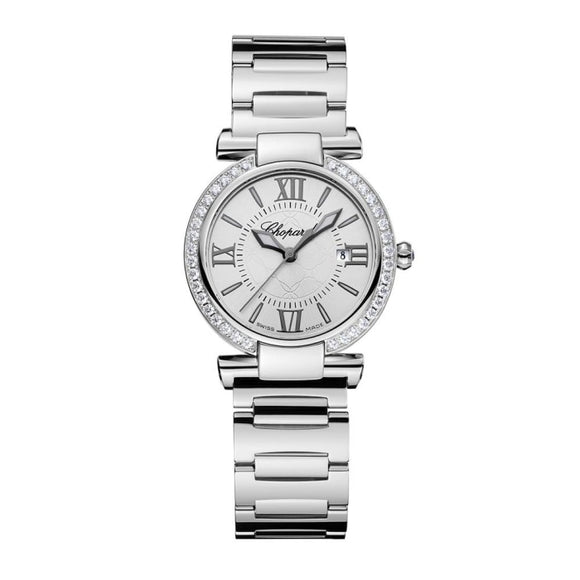 Chopard~Imperial Stainless Steel 28Mm W/ Diamond Bezel (388541-3004) - Watches Boston