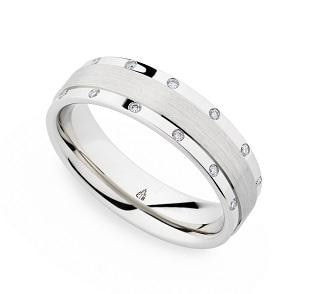 Christian Bauer Wedding Band (Diamond W/ Palladium) - Engagement Boston