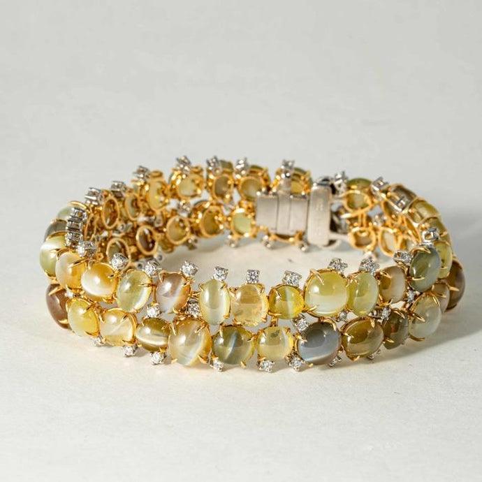 18 kt hand made Chrysoberyl Cats Eye 100 cts and diamond bracelet - Boston
