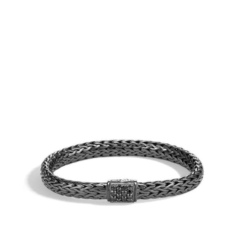 Classic Chain 7.5mm Black Sapphire Bracelet (Black Rhodium Plating) - Jewelry Designers Boston