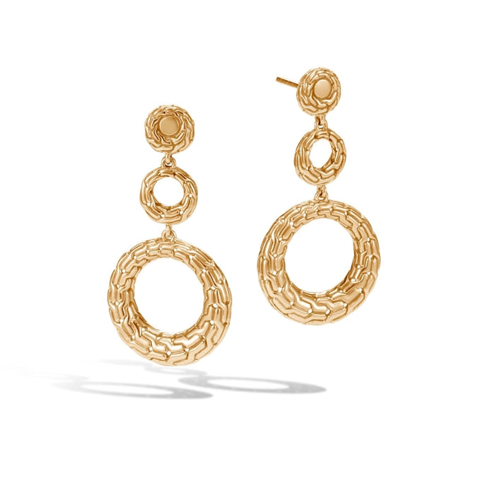 Classic Chain Circle Drop Earrings (Yellow Gold) - Jewelry Designers Boston
